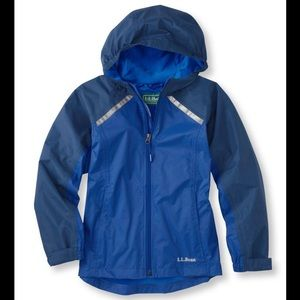LL BEAN Kids' Trail Model Rain Jacket, Lined Blue